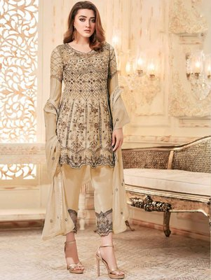 Light Brown Heavy Net Embroidery Frock Top Style Suit