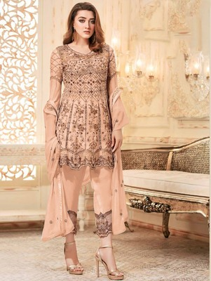 Light Salmon Heavy Net Embroidery Frock Top Style Suit