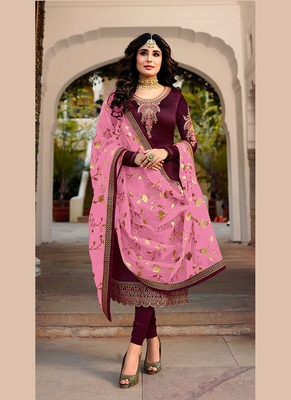 purple embroidered satin semi stitched salwar with dupatta