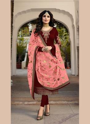 maroon embroidered satin semi stitched salwar with dupatta