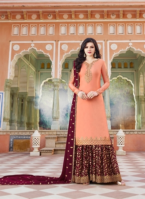 peach embroidered satin semi stitched salwar with dupatta