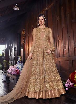 beige embroidered net semi stitched salwar with dupatta