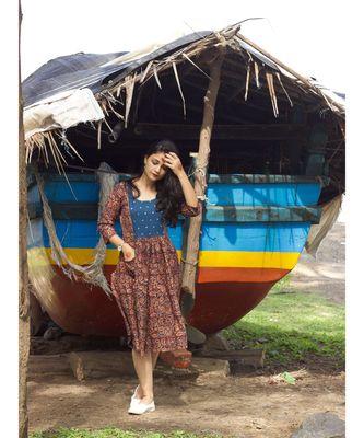 Kalamkari Mirror Yoke Dress