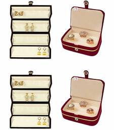 atorakushon® Velvet Combo Jewellery Box Ring Box Earrings Necklace Organiser  cream for Women's
