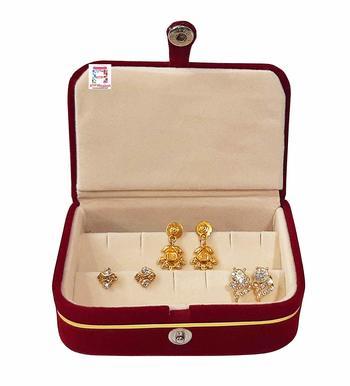 atorakushon® Velvet Combo Jewellery Box Ring Box Earrings Necklace Organiser for Women's Set of 2 (Cream)