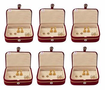 atorakushon® Velvet Combo Jewellery Box Ring Box Earrings Necklace Organiser cream for Women's pack of 6