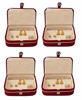 atorakushon® Velvet Combo Jewellery Box Ring Box  cream Earrings Necklace Organiser for Women's pack of4