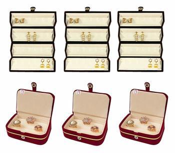atorakushon® Velvet Combo Jewellery Box Ring Box Earrings Necklace Organiser for Women's Maroon pack of 6