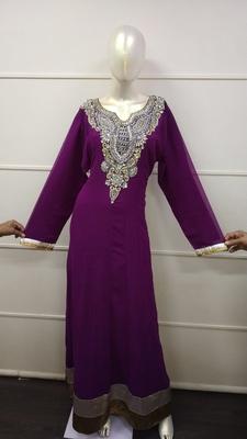 Purple Zari Work Chiffon Polyester Islamic Party Wear Festive Kaftan
