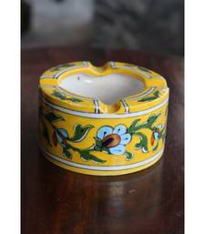 BLUE POTTERY YELLOW FLORAL ASH TRAY
