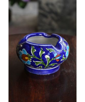 BLUE POTTERY BLUE FLORAL ASH TRAY