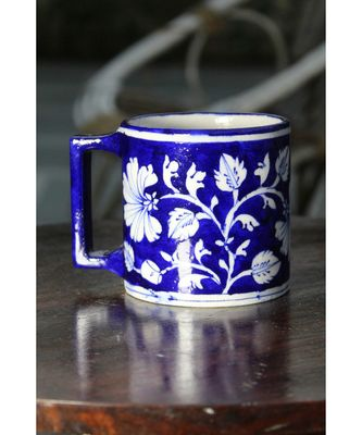 Blue Pottery Blue Floral Coffee Mug