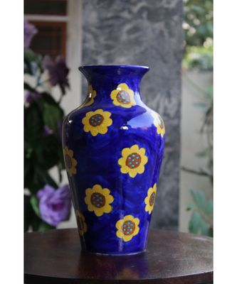 Blue Pottery Blue Floral Big Vase