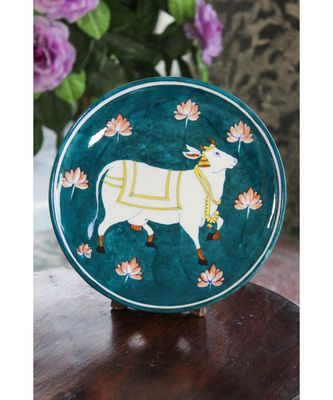 Ocean Cow Blue Pottery Plate