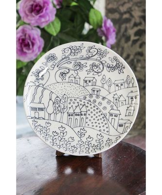 Blue pottery Whilte Village Plate