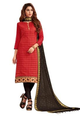 Red jacquard banarasi silk salwar