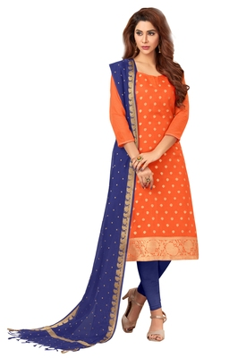 Orange jacquard banarasi silk salwar