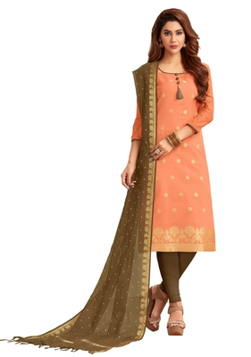 Orange jacquard banarasi silk salwar