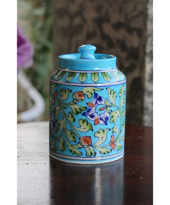 Blue Pottery Terquoise Floral Sugar Jar