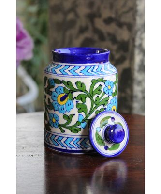 Blue Pottery White Green Leaf Sugar Jar