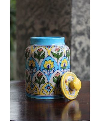 Blue Pottery Rose Floral Sugar Jar