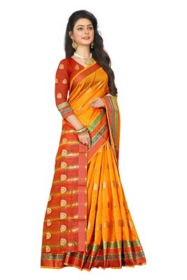 Orange woven cotton silk saree with blouse