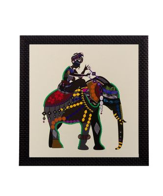 Villager on Elephant Matt Textured UV Art Painting