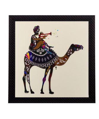 Villager on Camel Matt Textured UV Art Painting