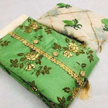 green printed synthetic unstitched salwar with dupatta