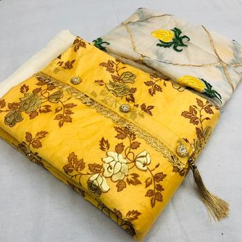 yellow printed synthetics unstitched salwar with dupatta