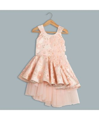 peach uneven brocade dress