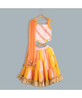 multi colour chanderi ghagra choli orange