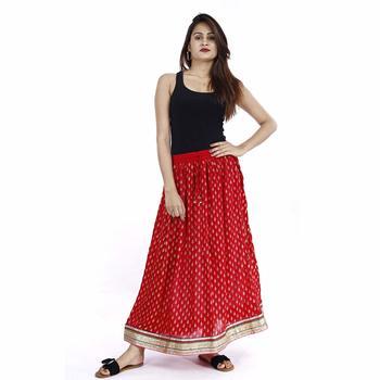 Red Plain cotton skirts