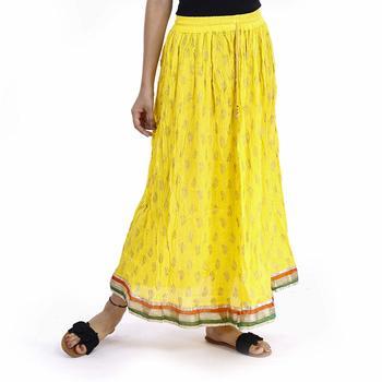 Yellow Plain cotton skirts