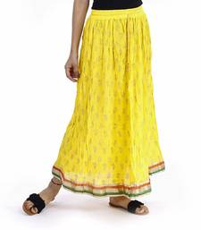 Yellow Plain cotton skirts