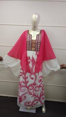 White and peach Zari Work Chiffon Polyester Islamic Party Wear Festive Kaftan