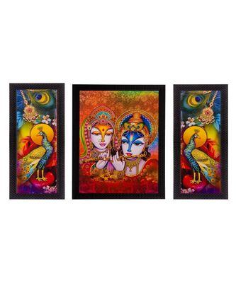 Set of 3 Radha Krishna & Peocock Matt Textured UV Art Painting