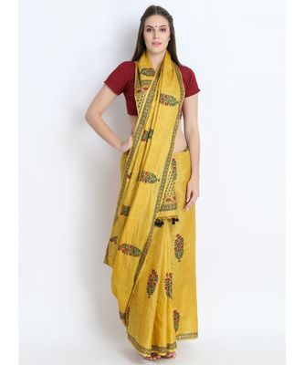 Mustard Yellow Hand Block Printed Tussar Silk Saree  With Traditional Design & Golden Tessels On Pallu