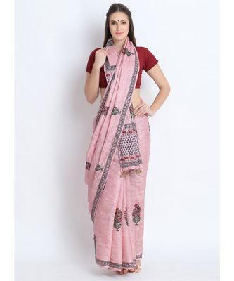 Pink Hand Block Printed Tussar Silk Saree  With Traditional Design & Golden Tessels On Pallu