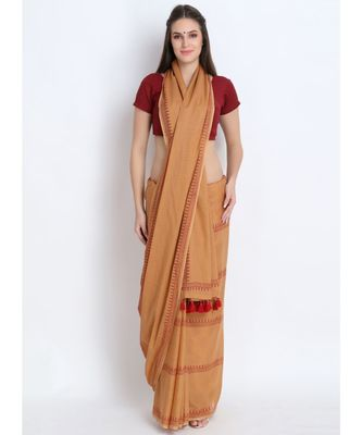 Beige Hand Block Printed Cotton Malmal Saree With Contemporary Design & Red Tessels on Pallu