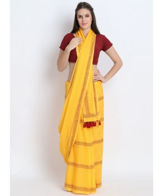 Yellow Hand Block Printed Cotton Malmal Saree With Contemporary Design & Red Tessels on Pallu
