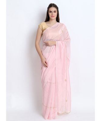 Pastel Pink Silk Chanderi Saree With Hand Embroidery