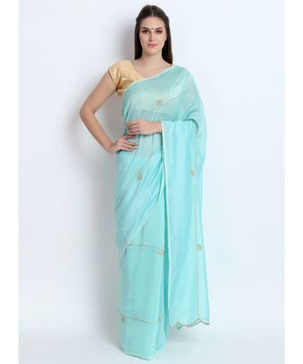 Pastel Sea Green Silk Chanderi Saree With Hand Embroidery