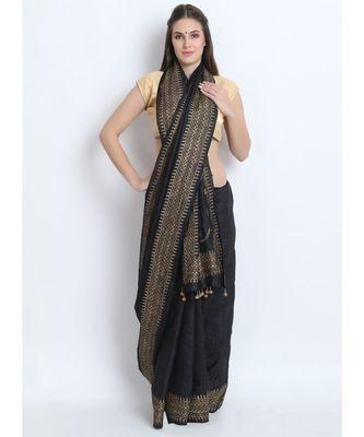 Black Hand Block Printed Tussar Silk Saree  With Traditional Nath Design & Golden Tessels On Pallu