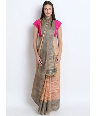 Beige Hand Block Printed Tussar Silk Saree  With Contemporary Design & Golden Tessels On Pallu