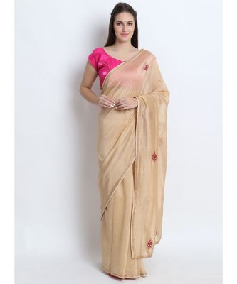 Beige Silk Chanderi Saree With Hand Embroidery