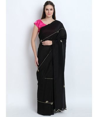 Black Silk Chanderi Saree With Hand Embroidery