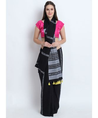 Black Hand Block Printed Cotton Malmal Saree With Contemporary Design & Yellow Tessels on Pallu