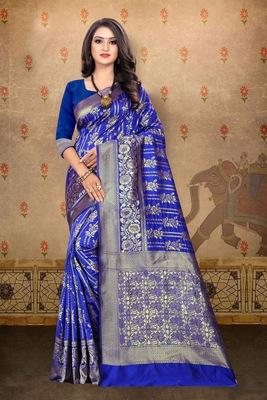Royal blue woven art silk saree with blouse