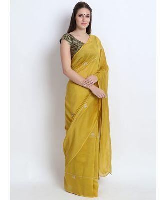 Mustard Green Silk Chanderi Saree With Hand Embroidery